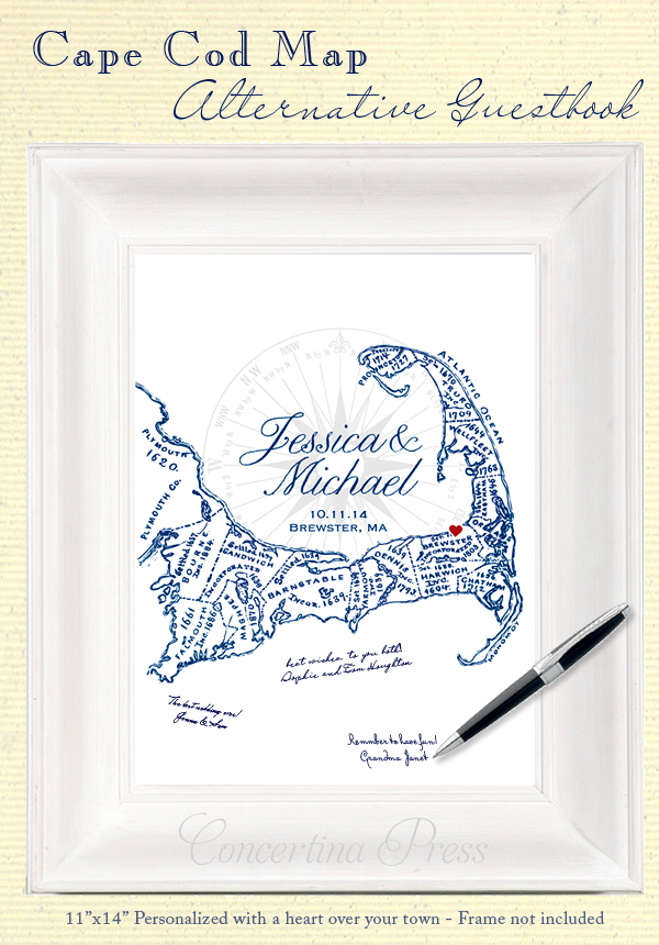 An alternative guestbook for a Cape Cod wedding from Concertina Press