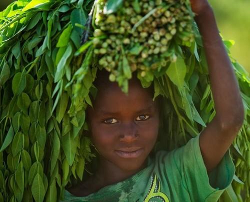 Tribu en Etiopía - pequeña Mursi