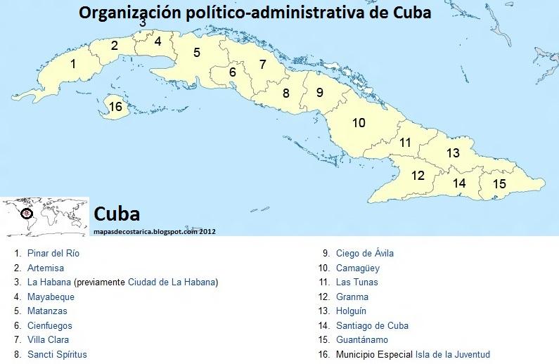 Mapa De Cuba Provincias