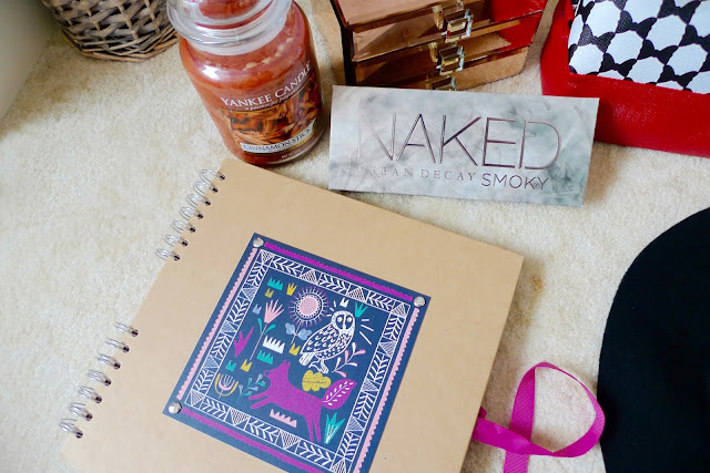 paperchase scrapbook, cinnamon yankee candle, urban decay naked smoky eyeshadow palette