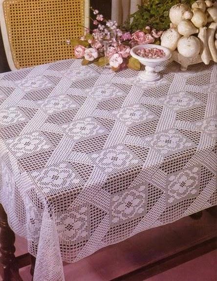Como no tempo da vov toalha de mesa retangular em croch com gr fico - Manteles mesas grandes ...