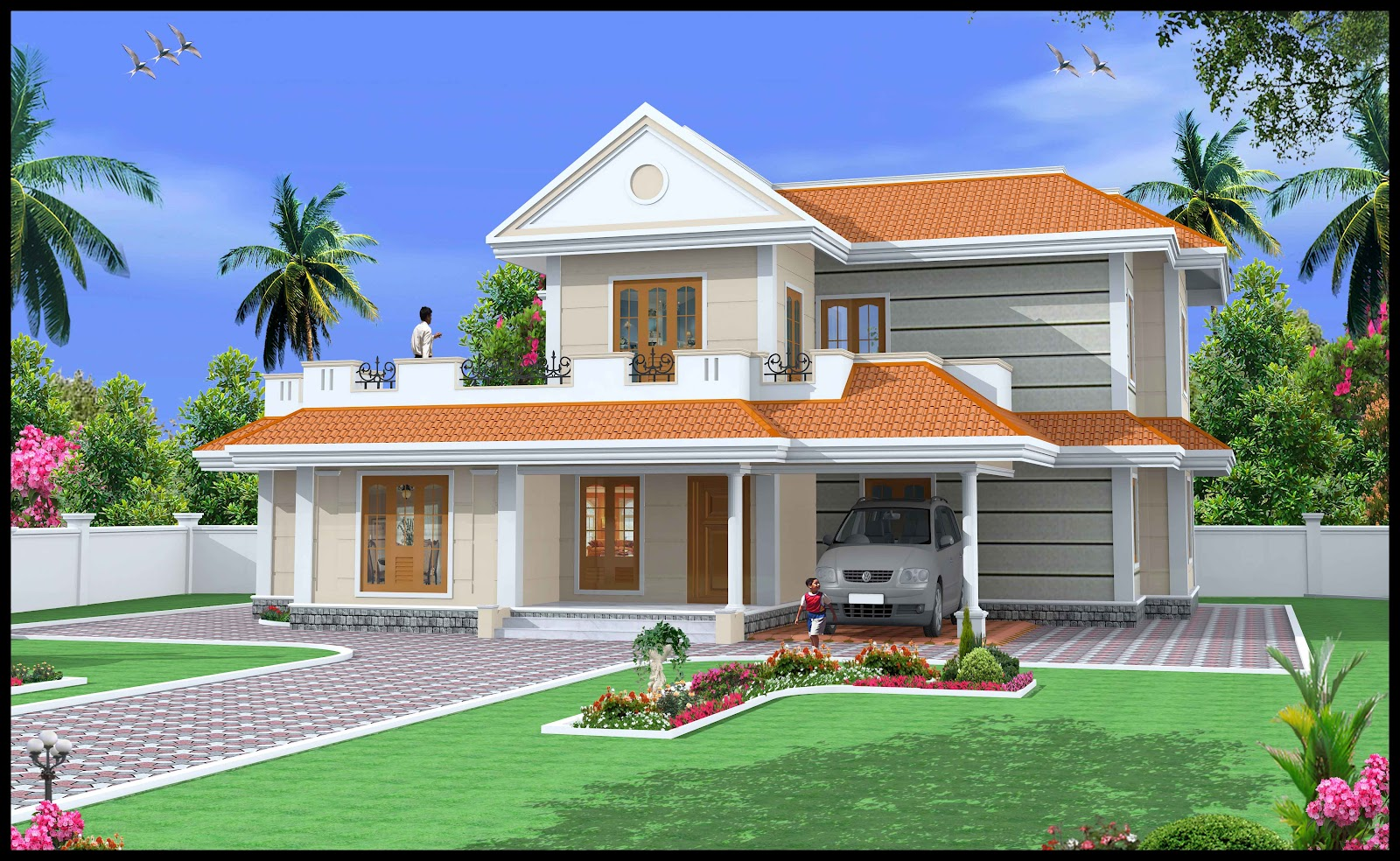 Green homes construction indian style duplex house 2600 for Duplex house india