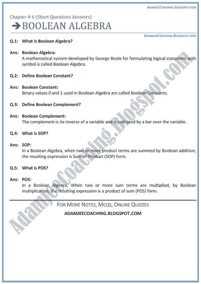 Boolean-Algebra-Short-Question-Answers-Computer-IX