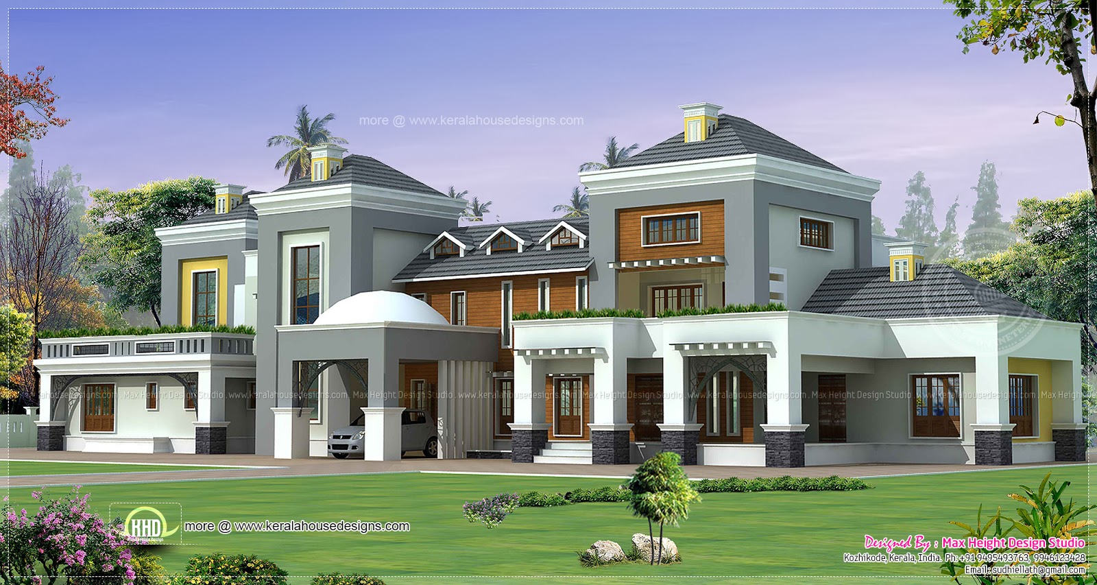 Luxury house plan with photo home kerala plans for Luxury mansion designs