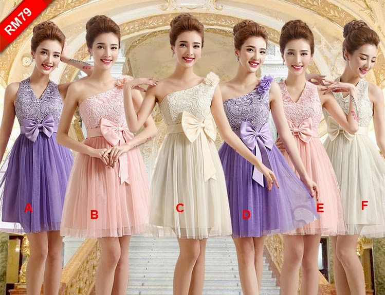 Three-colors Embroidery Top Midi Bridesmaids Dress