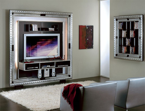 Plasma TV Decorating Idea. Golden Border For Living Room Decoration