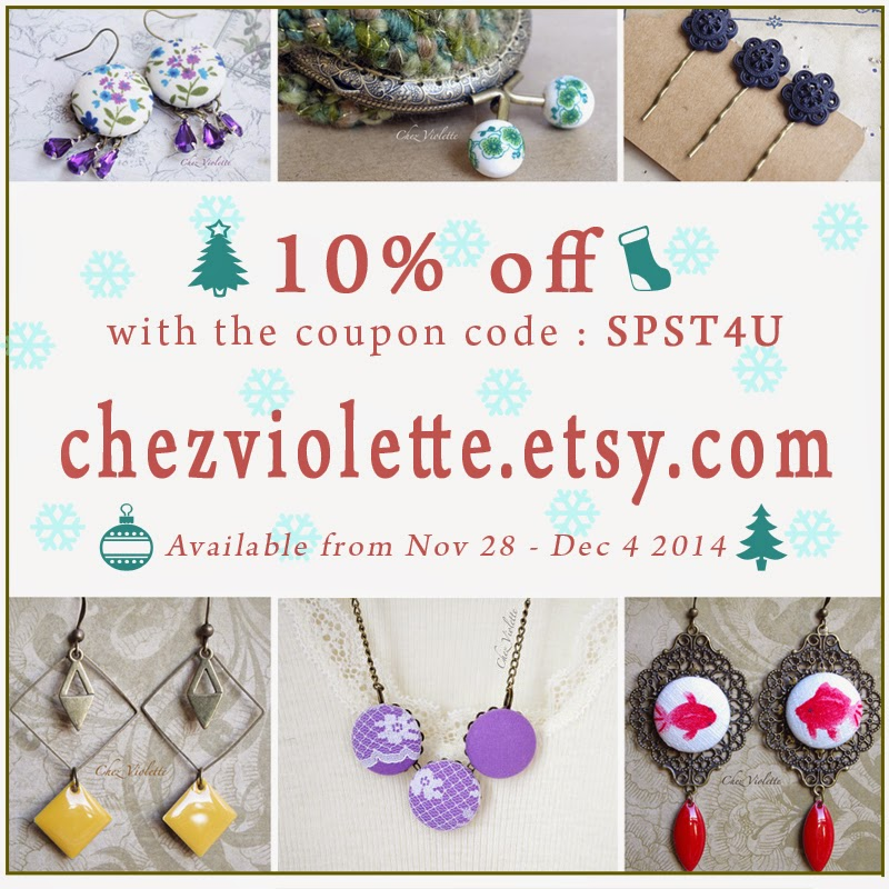 Black Friday Cyber monday coupon code chezviolette.etsy.com