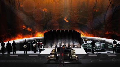 Michael Jackson's – This is it – The Earth Song. A concept model for the stage performance where a tractor emerges from the burning woods and swallows Michael.