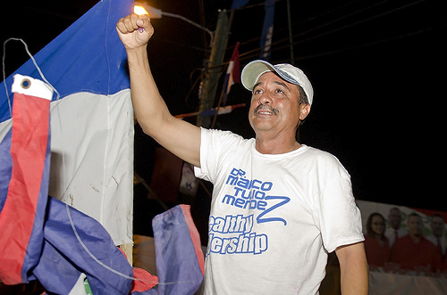 Dr. Marco Tulio Mendez celebrating victory over Orlando Burns in Orange Walk East elections 2012.