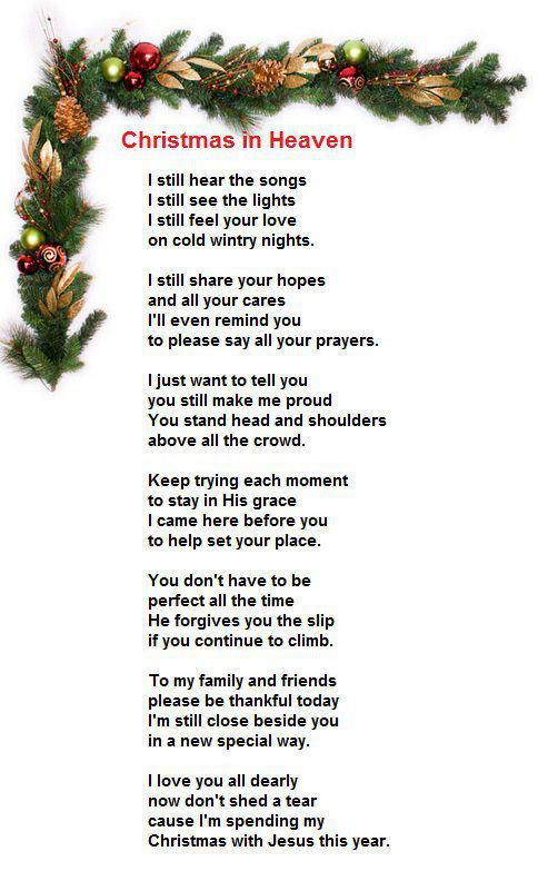 Astounding image throughout merry christmas from heaven poem printable