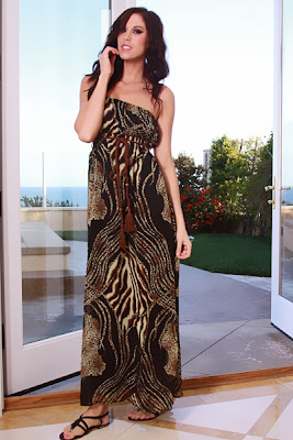 BLACK MULTI STRAPLESS CHIFFON ANIMAL PRINT ROPE TIE MAXI DRESS