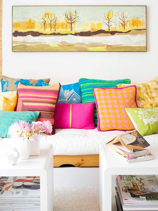 bright colors mixed patterns cushions