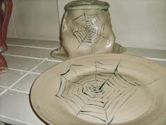 Säck och fat handmålad spindelnät.