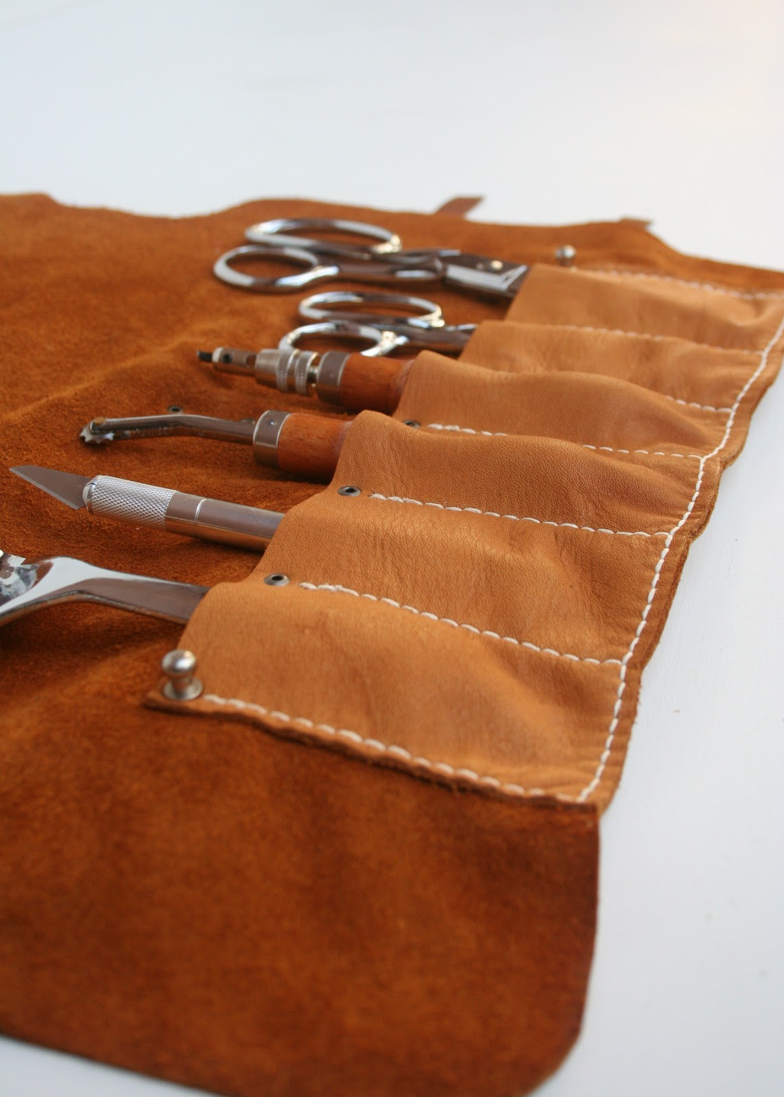 Leather Tool Roll Small Item Small Tool Roll in Saddle Tan