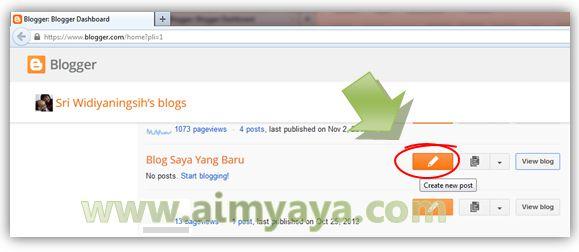 Gambar: Membuat Posting/artikel baru di blogger