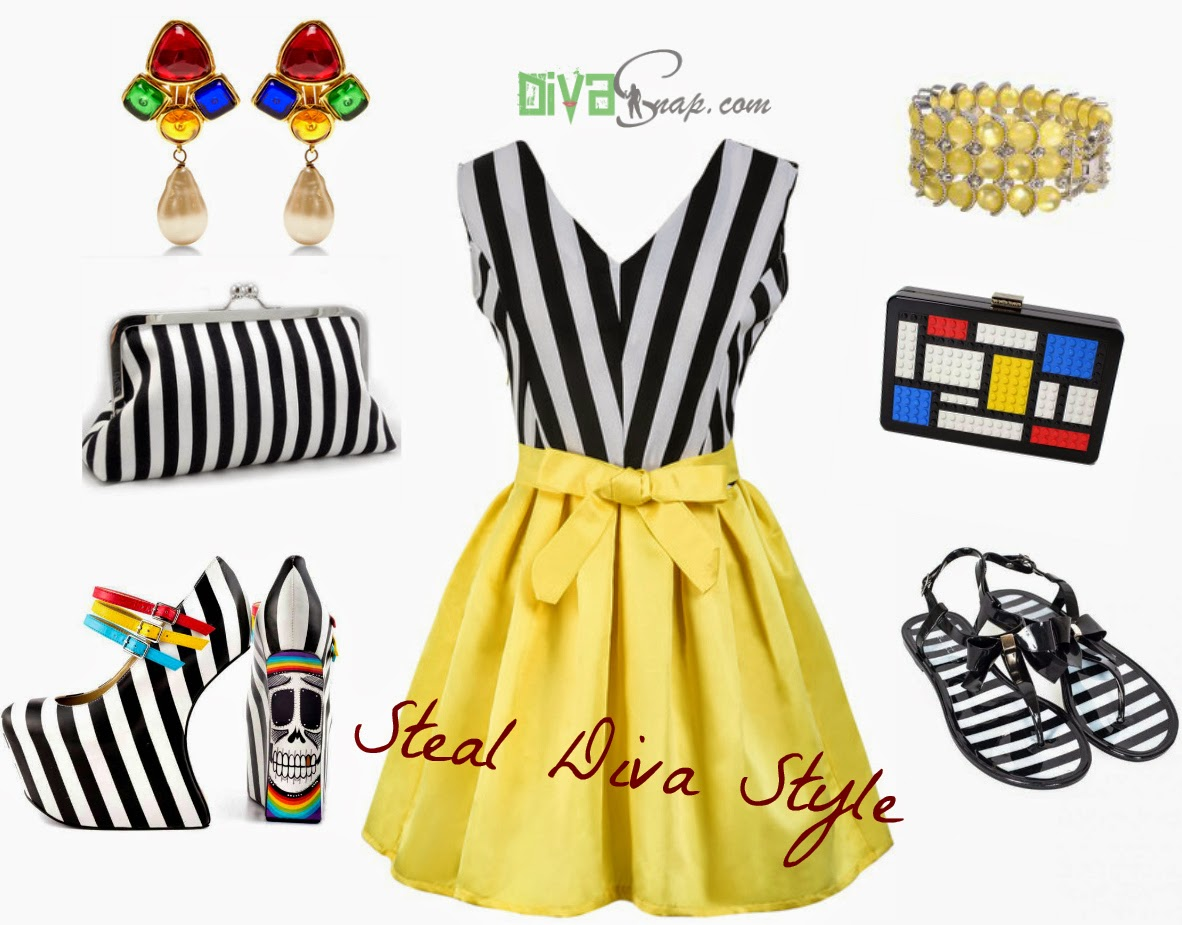 Black dress yellow accessories - Steal Diva Style Black White Stripe Bow Yellow Dress Taylor Says Wedges Multicolor Accessories Details