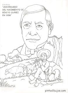 Benito Juárez para colorear – 21 de marzo