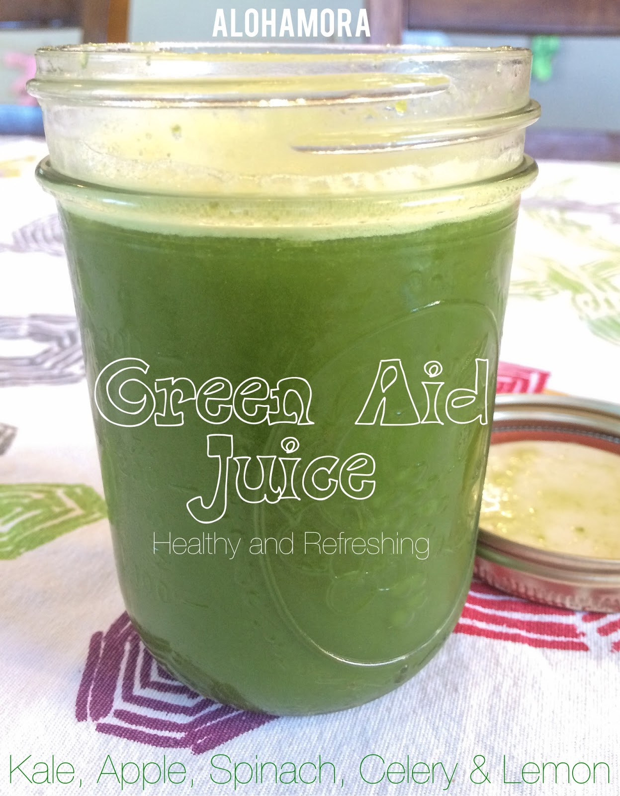 Green Aid Juice- a Healthy, diet friendly, and nutritious juice that fits a raw diet as well as gluten free, egg, free, dairy free, and nut free.  It's delicious with a sweet and tangy taste you'll love.  My favorite green juice recipe! Alohamora Open a Book http://www.alohamoraopenabook.blogspot.com/
