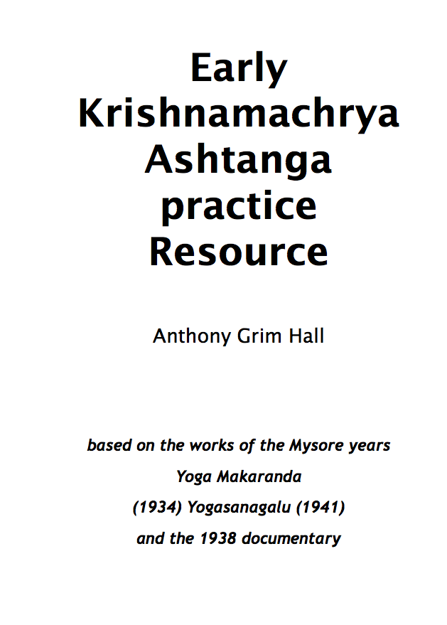 My Krishnamacharya Resource book