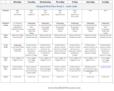 Eat Clean Stripped Meal plan week 1 - Julie Little