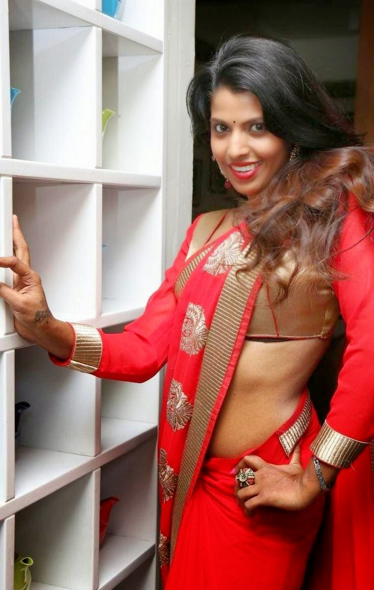 Manisha Pillai Stills in Red Saree