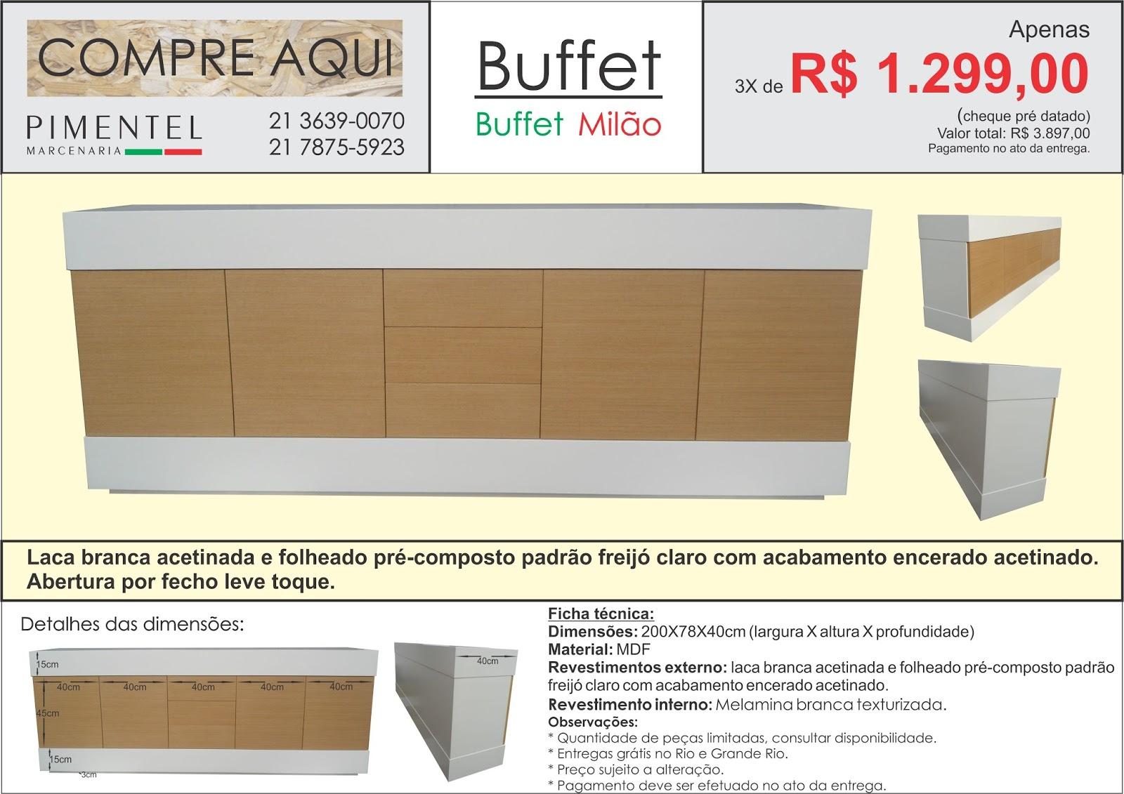 Buffet em MDF com revestimento externo em laca branca acetinada e  #B6151A 1600x1131