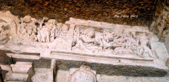 An ancient sculpting at the Jogeshwari caves during Shravan, Mumbai