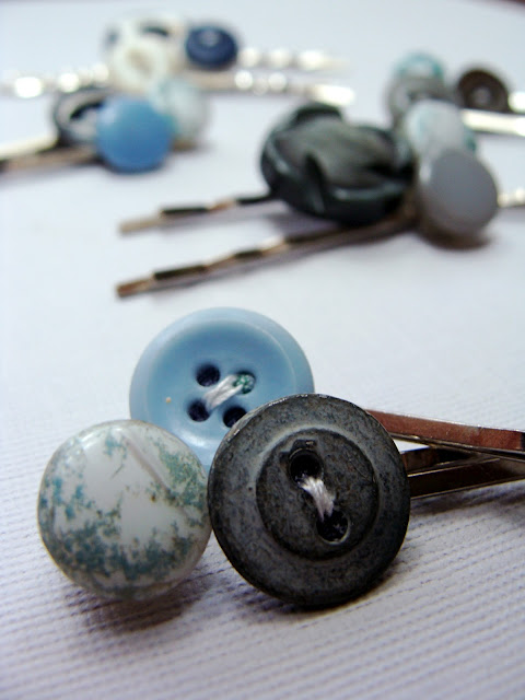 grey and blue bobby pins made with vintage upcycled buttons