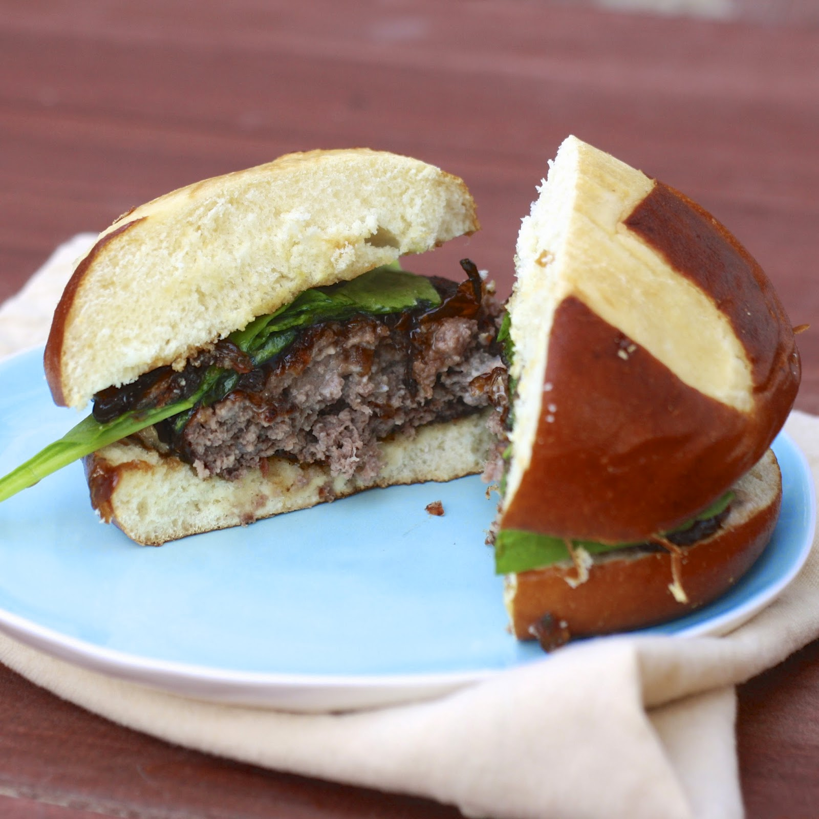 Blue Cheese Stuffed Burgers with Caramelized Onion Jam | The Sweets Life