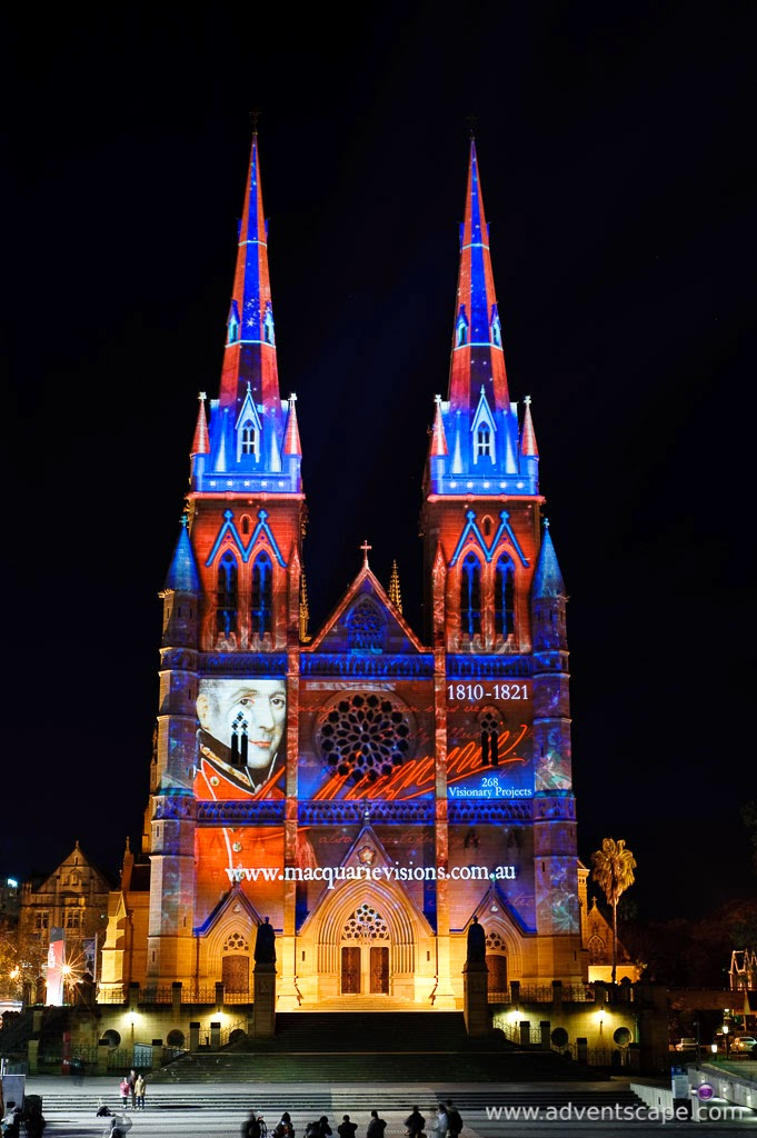 Philip Avellana, Australian Landscape Photographer, Vivid Sydney, Event, CBD, NSW, New South Wales, Australia, lighting, long exposure, 2010, St Mary's Cathedral, Macquarie Vision