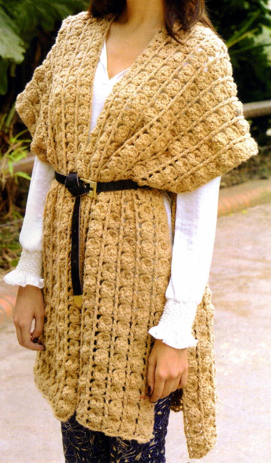poncho chic tejido en crochet (frente)