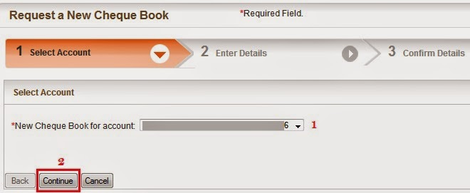 Bank of Baroda Request Cheque Book - Step 1