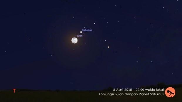 8 April 2015: Konjungsi Bulan dengan Planet Saturnus