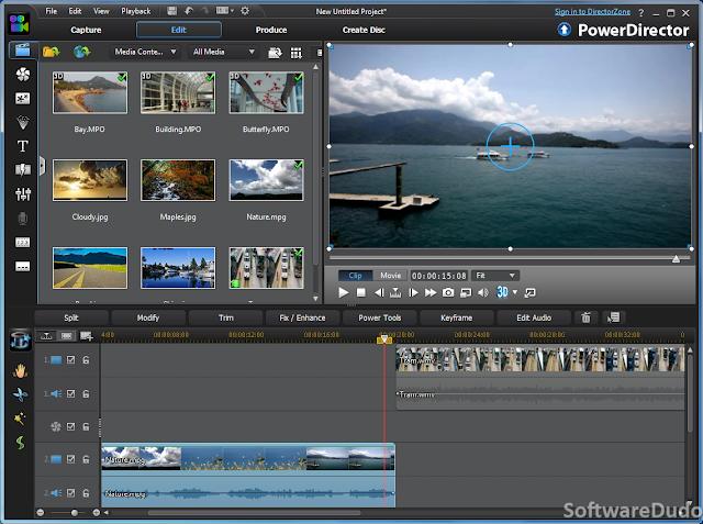 Cyberlink PowerDirector 12 Deluxe - Main Editing Interface