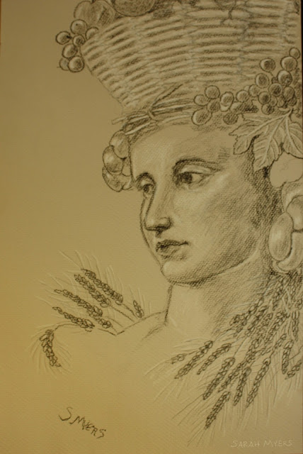 plenty, abundance, figurative, allegorical, drawing, study, shading, charcoal, sarah, myers, grapes, wheat, bread, basket, loaves, vine, leaves, woman, head, face, personification, art, arte, conte, figurative, classic, new, baroque