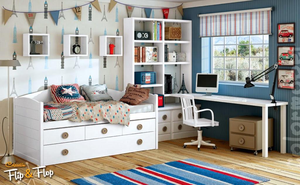 Dormitorios juveniles blancos - Habitaciones juveniles 2 camas ...