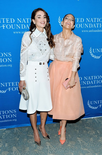 Queen Rania of Jordan and Jennifer Lopez attend the UN Foundation's Gender Equality Discussion