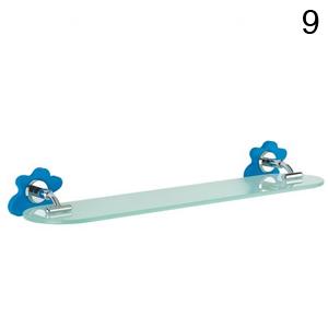 estante cristal baño azul
