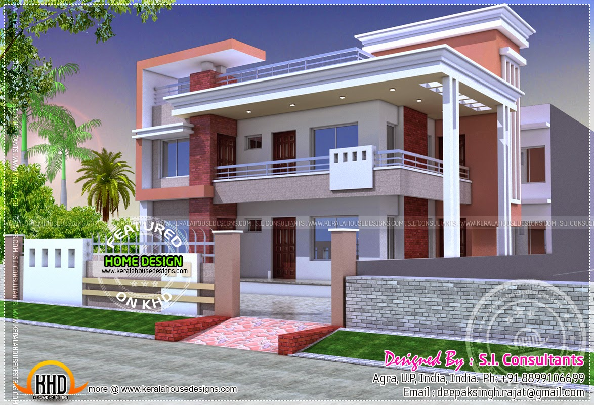 Modern duplex home kerala home design and floor plans for Front view of duplex house in india