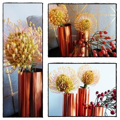 DIY Blumenvase kupferfarben aus Prägefolie