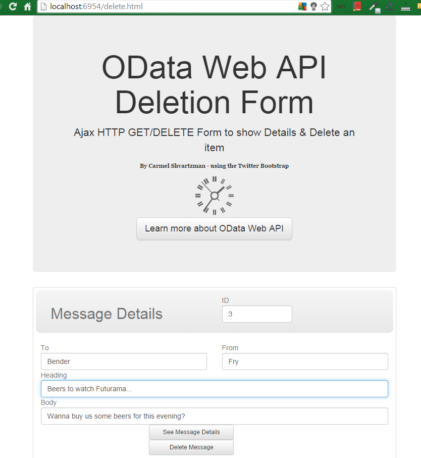 Ajax Web Client for OData Web API RESTful Service - HTTP-DELETE JSON