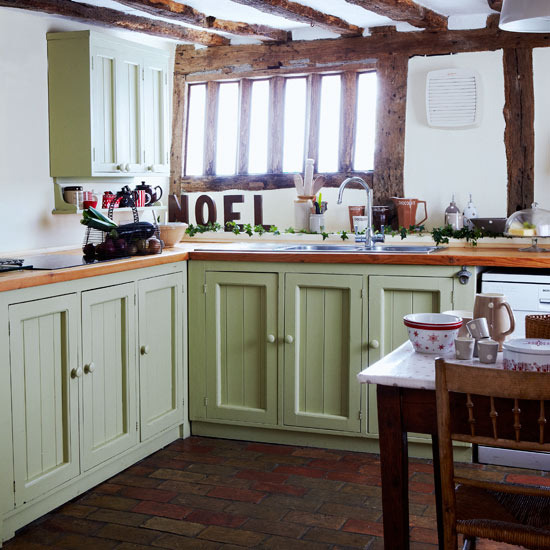 French Country Kitchen Green: New Home Interior Design: Country Kitchens
