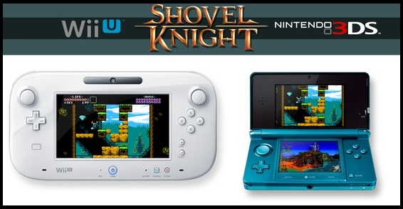 Indie game Shovel Knight being played on Wii U GamePad and Nintendo 3DS