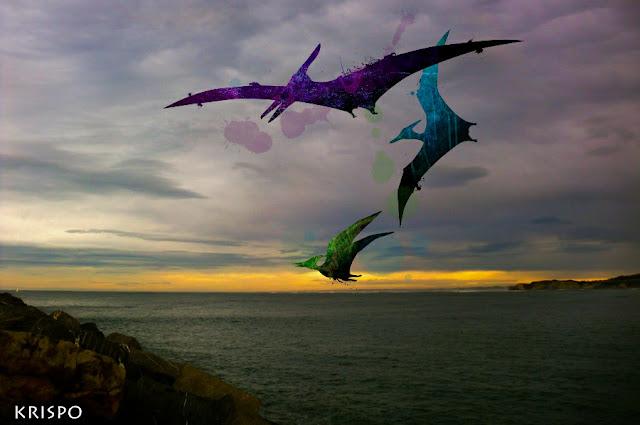 tres pterosaurios volando sobre Hondarribia