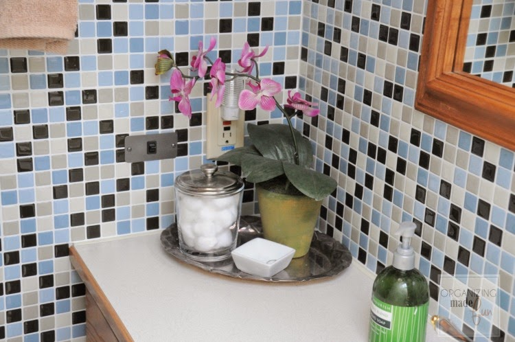 Motorhome bathroom transformation - tiled with Smart Tiles :: OrganizingMadeFun.com