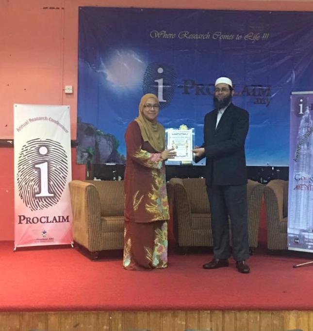 i-Proclaim Award 2017 to Dr Intan Salwani Mohammed