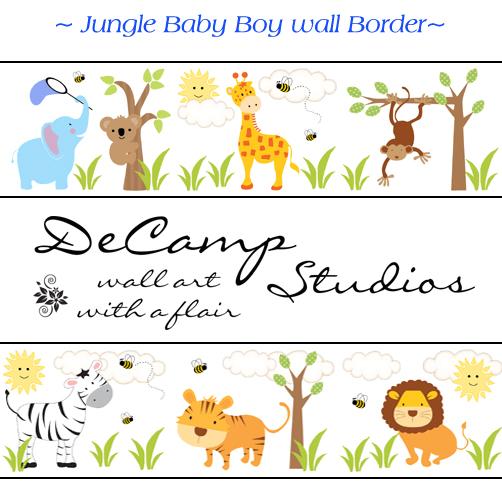 decamp studios jungle animals wall border decals