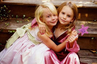 little girls hug