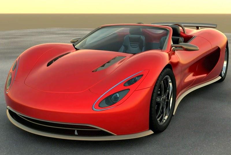 Sport Car Merah dengan Desain Artistik