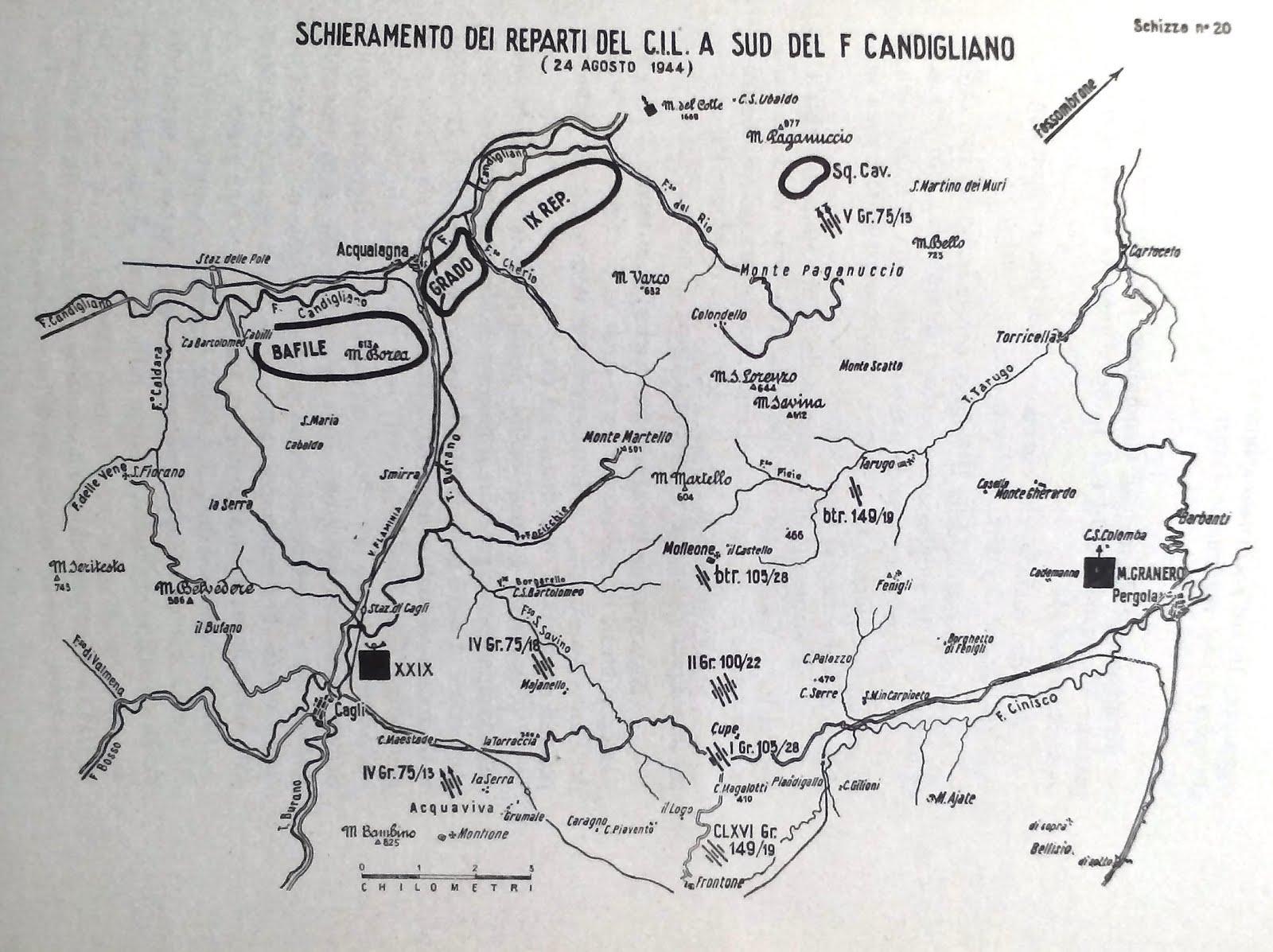 Schieramento dei reparti del Corpo Italiano di Liberazione  24 agosto 1944